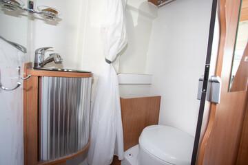 vacation campervan interior bathroom wc wooden in modern new motor home toilet