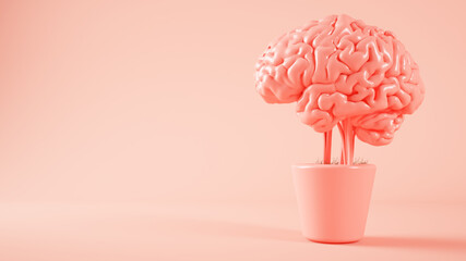 pink brain growing on a plant 3d rendering