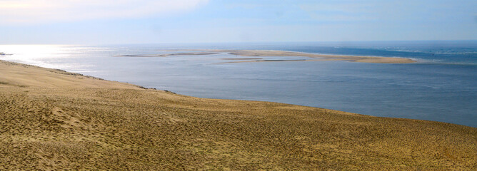 panoramic view of the Banc d'Arguin from the top of the Dune du Pilat near Arcachon in the South West of France - Nouvelle Aquitaine