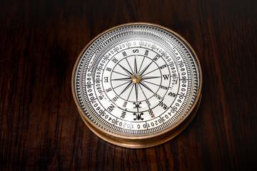 Old round brass vintage compass