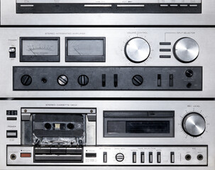Close up on a vintage stereo music player
