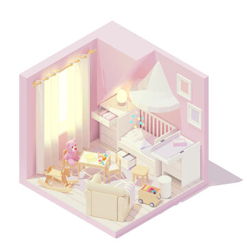 Vector isometric children's and baby room