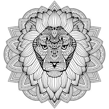 Lion head on an abstract background. An adult lion is drawn by hand. Ethnic plant pattern. Anti-stress coloring. Psychedelic drawing illustration.
