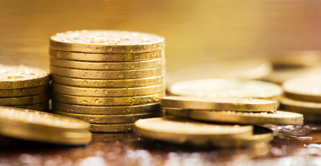 Gold money coin stacks, COVID-19 pandemic financial stimulus aid package concept, web banner