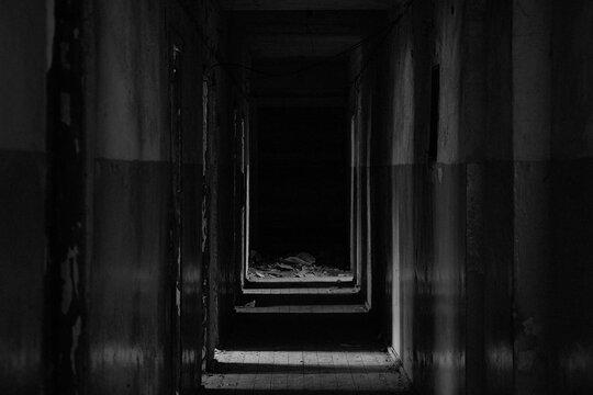 dark abandoned corridor of empty premises in dnipro city in ukraine