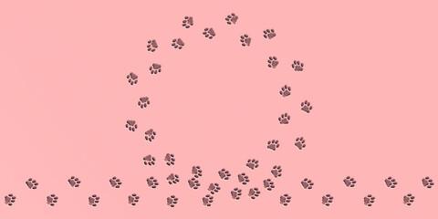 Katzenspuren im Kreis auf rosa Untergrund