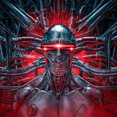 The dark sentinel / 3D illustration of futuristic metallic science fiction male humanoid cyborg inside computer core