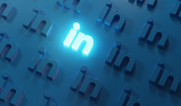 Stand Out on Social Media Concept. Glowing LinkedIn Logo