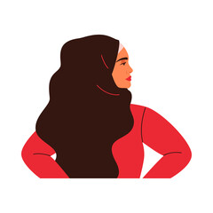 Young Arabian woman is standing in profile. Muslim girl is wearing black hijab. Vector illustration in flat style