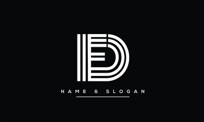 FD ,DF ,F ,D abstract letters logo monogram