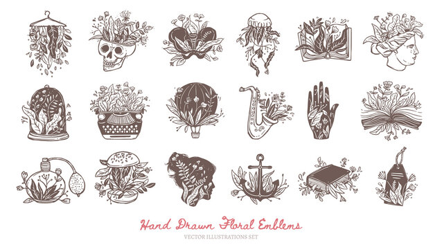 Big collection of floral bohemian logos and icons. Flower emblems and labels for fashion brends. Creative concepts and magic symbols. Vector hand drawn isolated skull, jellyfis, book, bone, Venus sign