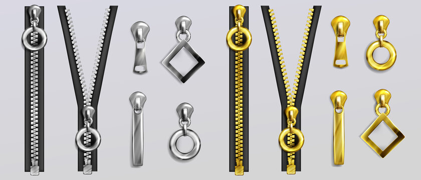 Silver and gold zippers with different shapes pullers isolated on gray background. Vector realistic set of open and closed metal zip fasteners and sliders for clothes and accessories
