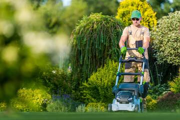 Beautiful Garden Backyard Grass Mowing