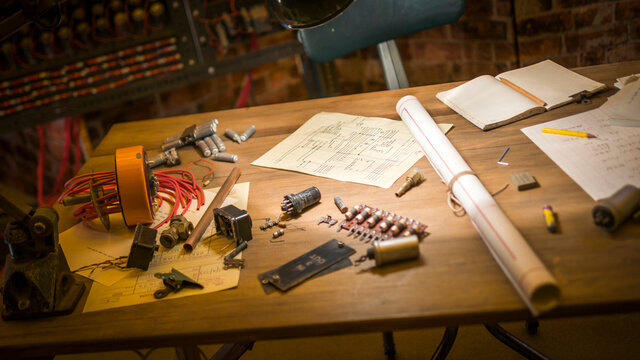 Bletchley, England - June 21, 2015: Props from the film 'The Imitation Game' filmed at Bletchley Park in Milton Keynes based on events that happened at Bletchley during world war two