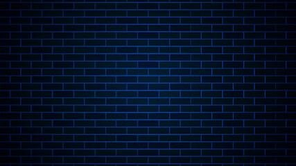 Artistic Dark Blue Fluorescent Night Light On Brick Wall Texture Background