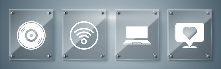 Set Like and heart, Laptop, Wi-Fi wireless internet network and Vinyl disk. Square glass panels. Vector.