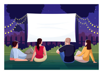 Backyard cinema watching semi flat vector illustration. Friends lounge in yard together. Large blank screen for weekend movie night. People outside 2D cartoon characters for commercial use