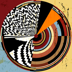 abstract circle background, retro/vintage style, with paint strokes and splashes, black and white