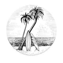 Obraz Surfboards under the palm trees, vector beach surfing round design. - fototapety do salonu