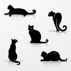 Set of Stylized Silhouettes of Cats