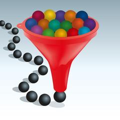 Concept de la standardisation et de l'uniformité, avec des billes de couleurs différentes qui deviennent toutes d'un noir identique en passant au travers d'un entonnoir.