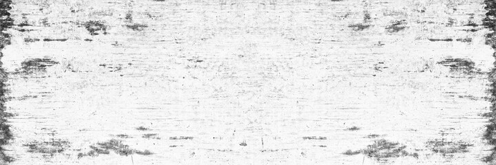 Old shabby white washed concrete wall wide texture. Aged rough whitewashed cement surface. Abstract grunge widescreen background