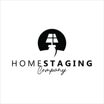 home staging logo abstract concept vector illustration for real estate business