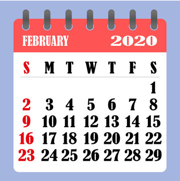 Letter calendar for February 2020. The week begins on Sunday. Time, planning and schedule concept. Flat design. Removable calendar for the month. Vector