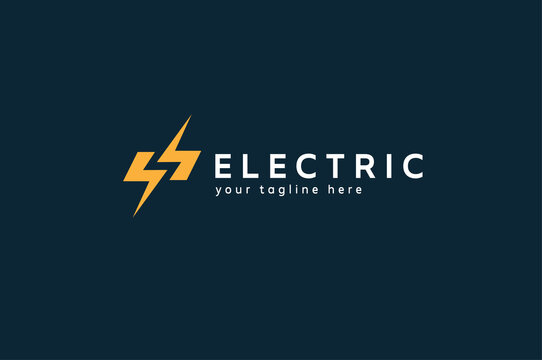 Electric Logo, letter S from negative space lightning bolt , tunder bolt design logo template, vector illustration