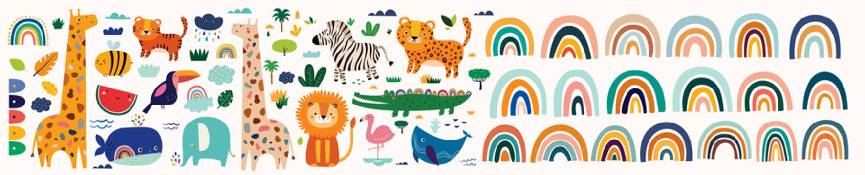 Colorful bright stylish trendy rainbows vector illustrations. Baby animals pattern. Fabric pattern. Vector illustration with cute animals. Nursery baby pattern illustration