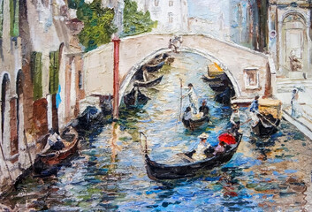 Urban Landscape depicting the old Venice, with its beautiful decorated buildings, shuttered windows, water channel with a picturesque bridge and gondolas. Oil painting in light colors.