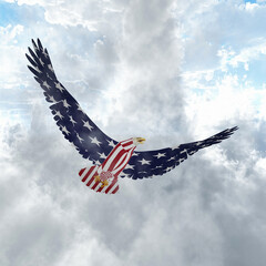 Wall Mural - Eagle in US national colors. 3D rendering