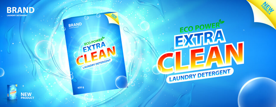 Laundry detergent promo banner. Vector illustration with realistic box of laundry detergent with bright design. Horizontal banner with water splashes and bubbles on blue background.