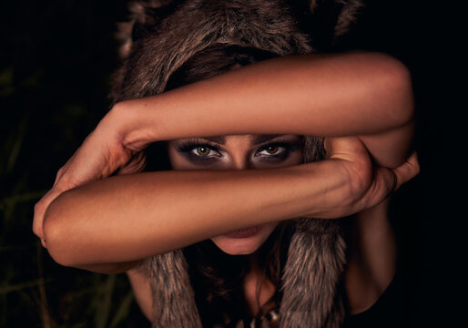 portrait girl werewolf. background forest. cosplay
