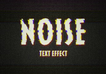 VHS Noise Glitch Text Effect Mockup