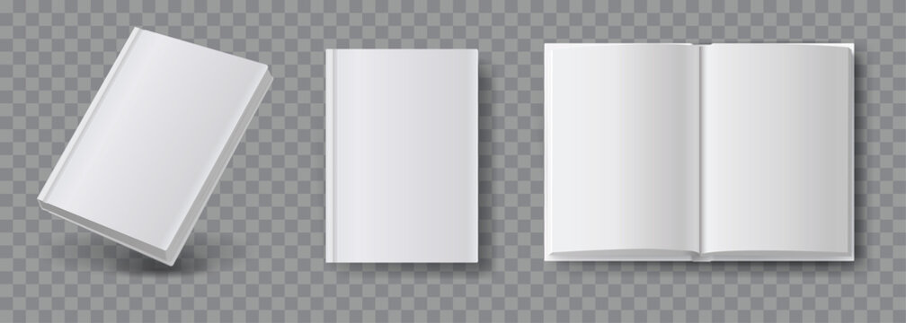 Blank book mockup. Set of book template in different views isolated on transparent background. Realistic blank booklet cover, white brochure surface vector set.