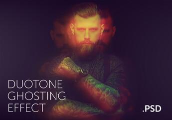 Photo Duotone Ghosting Effect Mockup