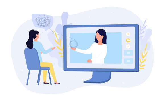 Online medical or psychological counselling with a woman sitting in front of a computer talking to a virtual doctor, colored vector illustration