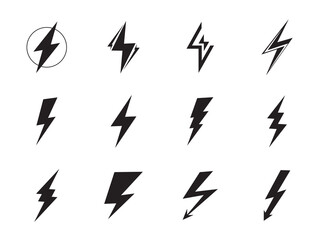 Lightning vector set. Voltage, electricity and power signs or thunder, flash light, power electric thunderbolt isolated on white background. . Wall mural