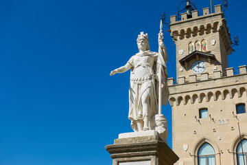 The Statue of Liberty and The City hall in San Marino