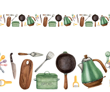Pattern with kitchen accessories in watercolor