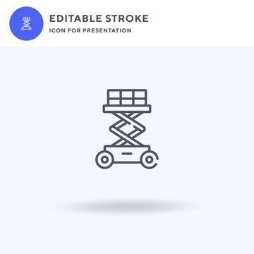 Scissor Lift icon vector, filled flat sign, solid pictogram isolated on white, logo illustration. Scissor Lift icon for presentation.
