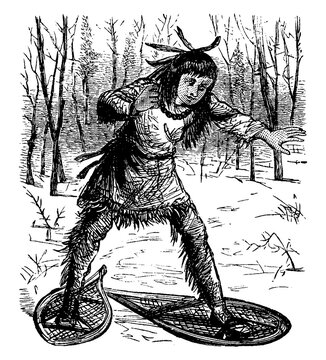 Snow Shoes, vintage illustration