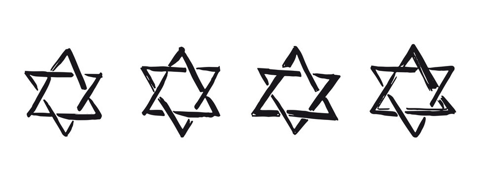 Star of David. Hand-drawn style. Vector.