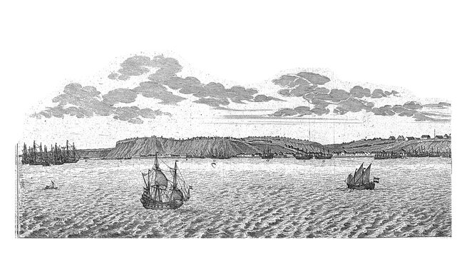 View of Luanda (left half), c. 1641, vintage illustration.