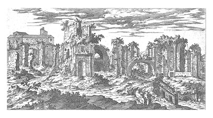Ruins of the Baths of Titus in Rome, vintage illustration.