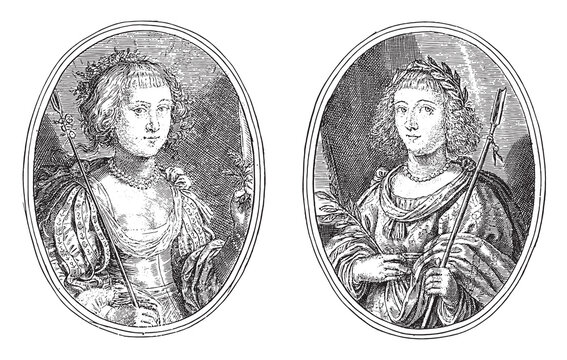 Portraits of an unknown woman and Anna Maria van Schurman, vintage illustration.