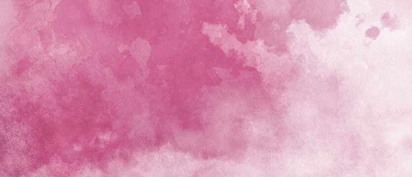 Watercolor background in pink and white painting with cloudy distressed texture and marbled grunge, soft fog or hazy lighting and pastel colors
