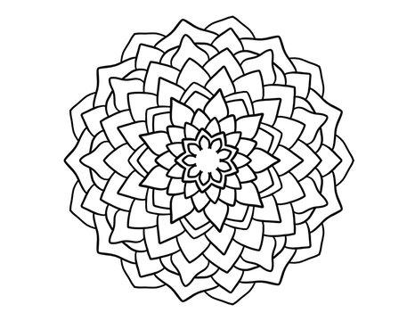 mandala zen flower - stencil for crayon coloring