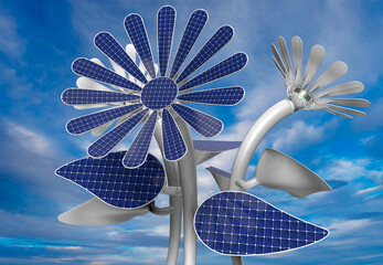 Group of 3 flower shaped solar panels with petals, leaves and long white stem with blue sky background. 3D Illustration